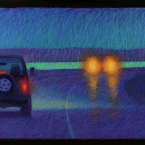 BEACH ROAD COMMUTE, acrylic and oil pastel, 2014, SOLD