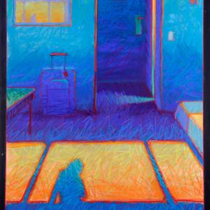 "HOTEL ROOM, pastel, 38"" x 30"", 2019, $3,400"