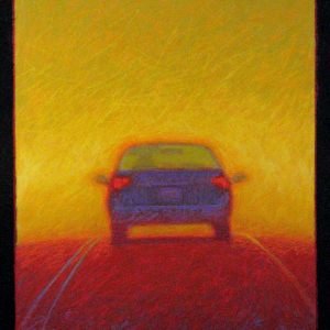 "INTO THE SUN, oil and oil stick, 32""x 26"", 2007, SOLD"