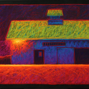 "BARN WITH FLOODLIGHT, pastel, 22""x 40"", 2010, SOLD"