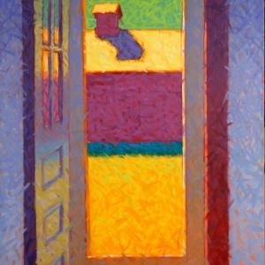 """BACK DOOR, oil, 60""""x 40"""", 1998, $2,000, SOLD"""