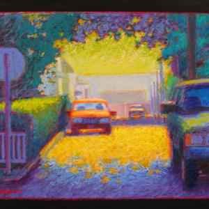 "CENTER STREET, oil stick, 21""x 27"", 2005, SOLD"