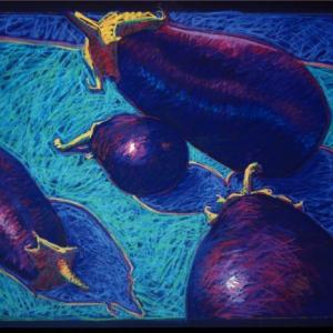 "FOUR EGGPLANT, pastel, 32""x 40"", 1991, SOLD"