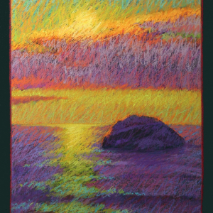 "GREAT ROCK SUNSET, pastel, 22""x 18"",2014, SOLD"