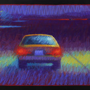"PARKED CAR AND STREETLIGHT, pastel, 20""x 32"", 2014, $2,000"