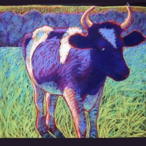 "PURPLE COW, pastel, 32""x 40"", 1990, SOLD"