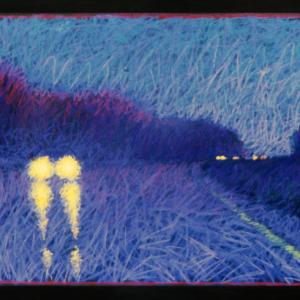 """RAINY ROAD, pastel, 24""""x 48"""", 1999, SOLD"""