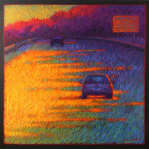 "ROUTE 395, Morning, pastel, 36""x 36"", 2010, SOLD"