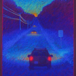 "ROUTE 16, EVENING, pastel, 40""x 32, 2005, SOLD"