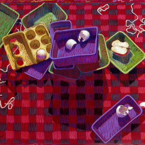 "SARAH CYNTHIA SYLVIA STOUT WOULD NOT TAKE THE GARBAGE OUT, pastel, 32""x 40"", 1985, SOLD"