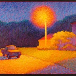"SUBURBAN STREETLIGHT, oil stick, 36""x 48"", 2005, $3,500"