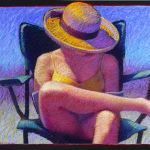 """BEACH READER, pastel, 32""""x 40"""", 2002, SOLD"""