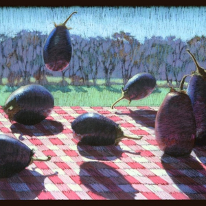 "FLYING EGGPLANT, pastel, 30""x 40"", 1984, SOLD"