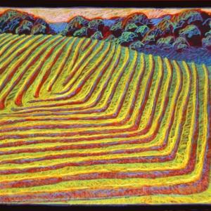 """HAYING SERIES #2, pastel, 40""""x 56"""", 1992, SOLD"""