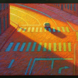 "CITY MORNING #3, pastel, 27""x 32"", 2014, SOLD"