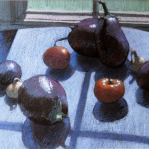 "MOSTLY EGGPLANT AND TOMATOES, pastel, 24""x 28"", 1978, SOLD"