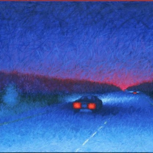 "NIGHT DRIVING, oil, 30""x 60"", 1995, SOLD"