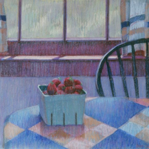 "ONE QUART OF STRAWBERRIES, pastel, 24""x 28"", 1977, SOLD"