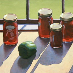 "PLUM TOMATOES, oil, 24""x 30"", 1980, SOLD"