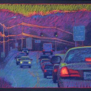 "PROPOSED SITE OF ANOTHER DUNKIN DONUTS, pastel, 28""x 36"", 2007, SOLD"