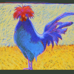 "PUNK ROOSTER, pastel, 32""x 40"", 2001, SOLD"