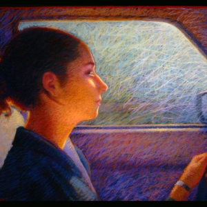 "SAM DRIVING, pastel, 32""x 40"", 2000, SOLD"