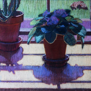 "VIOLET AND CACTUS, pastel, 28""x 34"", 1979, SOLD"