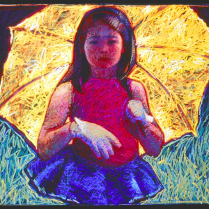 "CHILD WITH YELLOW UMBRELLA, pastel, 32""x 40"", 1986, SOLD"